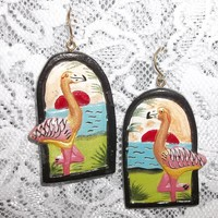 """Vintage Flamingo Sunset Hand Carved Painted Wooden 2"""" Dangle Statement Earrings"""