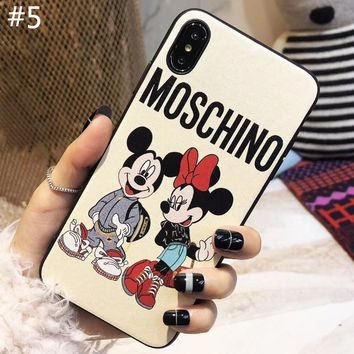 Moschino x Disney co-branded tide brand couple soft shell iPhone XS Max phone case #5