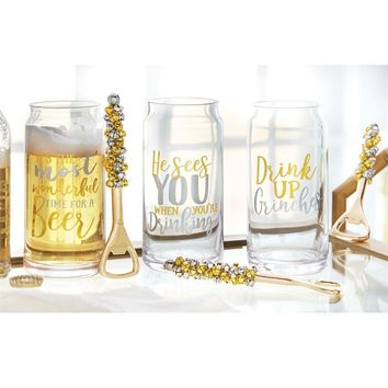Gold & Silver Beer Glass & Opener Sets from Mud Pie