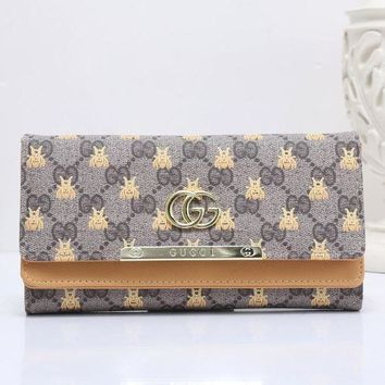 DCCK GUCCI Bee Women Fashion Embroidery Leather Buckle Wallet Purse6