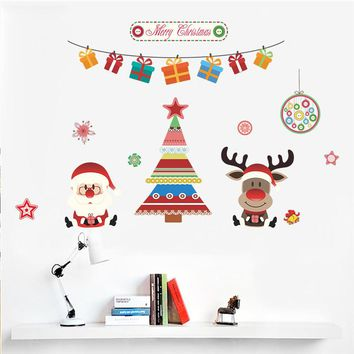 Christmas Decoration Tree Deer Santa Claus Wall Stickers Store Window Wall Decals New Year Gift Home Decor Mural Poster
