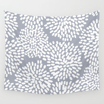 Grey and White Abstract Firework Flowers Wall Tapestry by Elizabeth Schulz
