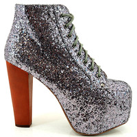 Jeffrey Campbell Lita Platform Boot in Pewter Glitter