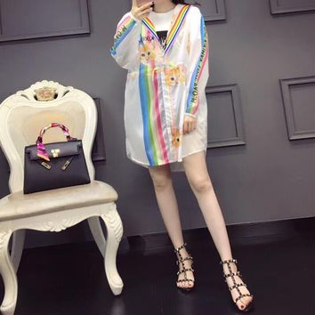 """Gucci"" Women Fashion Rainbow Stripe Letter Cat Pattern Print  Zip Cardigan Long Sleeve Hooded Coat Sun Protection Clothing"
