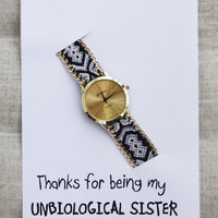 Cloth Band Friendship Wrist Watch Unisex Gift Thanks For Being My Unbiological Sister Watch
