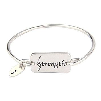 Inspirational Strength Bangle Bracelet with Hand Stamped Semicolon Motivational Gift for Children