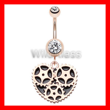 Rose Gold 14g Navel Ring Geared Heart Belly Button Ring Navel Jewelry Navel Ring Belly Button Jewelry Belly Piercing Navel Piercing Pink