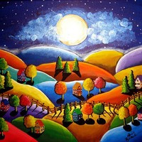 Peace on Earth Colorful Landscape Whimsical by reniebritenbucher