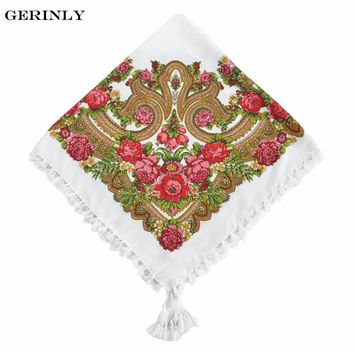 GERINLY Bandana New Brand Square Scarf Women Tassel Print Design Winter Scarves Fashion Headband Ethnic Hijab Shawl Handkerchief