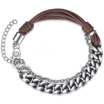 Boss Curb Cuban Chain Link Leather Stainless Steel Handmade Bracelet for Men's by Ritzy
