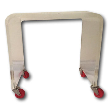 Vintage Waterfall Lucite Vanity Stool Table Red Casters