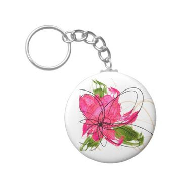 Blush Pink Olive Painted Daisy Button Keychain