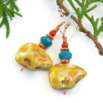 Zuni Inspired Southwest Bear Earrings, Czech Glass Turquoise Red Coral Handmade Jewelry