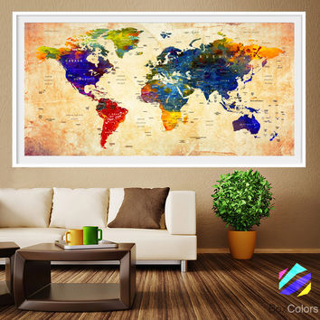 XL Poster Push Pin World Map travel cities Art Print Photo Paper watercolor Wall Decor Home (frame is not included)(P15) FREE Shipping USA!!