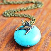 Turquoise Necklace - antique brass bird necklace, bird necklace, turquoise pendant, blue stone necklace