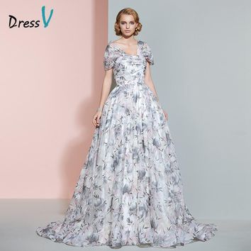 Dressv printing A-line long wedding dress vintage cap sleeves zipper up ruched court train wedding dress 2017 hot bridal gown