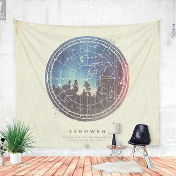 Fernweh Vol 3, wall tapestry, wanderlust, nature, photo, unique, bohemian, wall hanging, home decor, adventure, travel, night, forest, stars