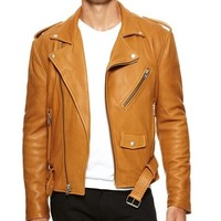 Men's Tan Classic Biker Leather Jacket | Style and Decor
