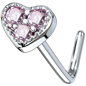 BodyJ4You 20G Nose Ring L-Shaped Bend Stud Pink CZ Heart Surgical Steel Nostril Body Piercing