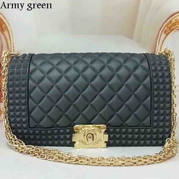Chanel Exquisite Elegant Leather Women Fashion Tote F-LLBPFSH army green