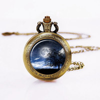 Moon Tree  Necklace, Lovely  pocket Watch ,221B,Lovely Pendant ,included gift box