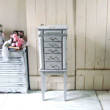 Paris Gray Tall Jewelry Chest, Shabby Chic Big Grey Jewelry Box Jewelry Stand, Cottage Chic Light Gray Distressed Jewelry Cabinet Gift Idea