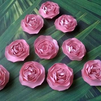 metallic blush pink dahlia paper flowers Roses Loose table decoration wedding Bridal Shower Decor home decor Baby nursery party decoration
