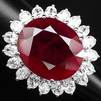 Vintage Rare 59CT Oval Cut Red Ruby White Sapphire Halo Ring