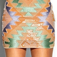 Beaded Southwestern Mini Skirt