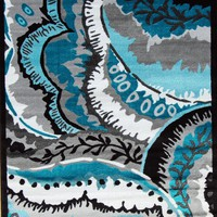 2204 Turquoise Abstract Modern Area Rugs
