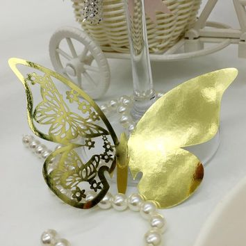 50pcs Laser Cut Butterfly Party Name Place Cards For Wine Glass