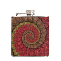 Rusty Red and Orange Peacock Fractal Flask