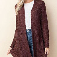 Camille Waffle Knit Cardigan - Maroon