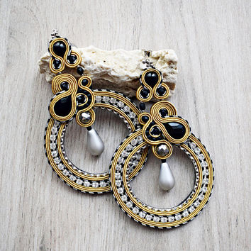 Large Soutache Earrings gold tone Statement soutache earrings OOAK soutache earrings dangle earrings gift idea for her