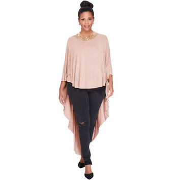 Women Cape T-Shirt Three Quarter Batwing Sleeve Long T Shirt Women Tops O Neck Asymmetric Hem Loose Top Tee Blusas SM6