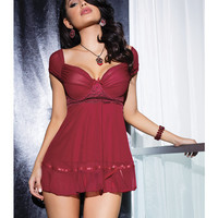 Mesh Babydoll W-gathered Cap Sleeves & Hook & Eye Closure & G-string Merlot Xl