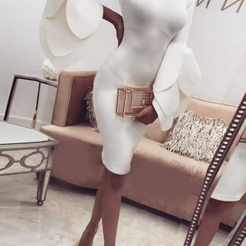 White Ruffle Petal Sleeve Round Neck Elegant Bodycon Prom Evening Party Midi Dress