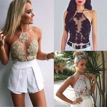 2017 Summer Women Sexy Chiffon Lace Sleeveless Shirt Stitching T-shirt Casual Tops Trending Ladies Blusas Top Hot Sale