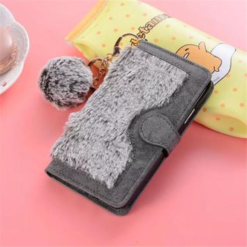 Cute Rabbit Hair Case For iphone X Fuzzy Fur Leather+Cute Ball Soft Back Cover For iphoneX iphone 10 Detachable Flip Wallet Case