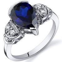 Created Sapphire Tear Drop Ring Sterling Silver Rhodium Nickel Finish 2.50 Carats Sizes 5 to 9