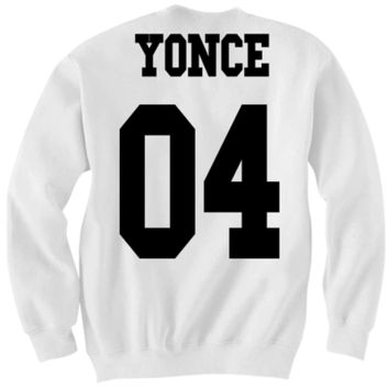 YONCE JERSEY SWEATSHIRT O4 BEYONCE SWEATSHIRT COOL GIFTS ON THE RUN TOUR SHIRTS TEAM BEY TEAM YONCE from CELEBRITY COTTON