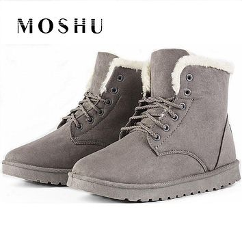 Fashion Winter Women Ankle Boots Female Snow Boots Ladies Shoes Suede Plush Insole Sapato Feminino
