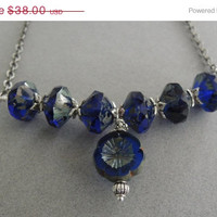 HOLIDAY SALE Cobalt Blue Glass Statement Necklace Rustic Blue Silver