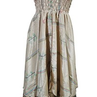 Mogul Interior Womens Bohemian 2 In 1 Strapless Dress Maxi Skirts Inspired Spirit Recycled Vintage Sari Two Layer Sundress S/M