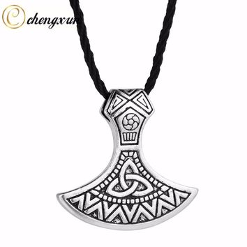 CHENGXUN Gothic Vintage Axe Pendant Men Necklace Valknut Odin 's Symbol of Norse Viking Mjolnir Charm Jewelry Stainless Steel