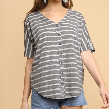 Grey Striped Short Sleeve V-Neck Baseball Top