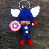 Captain America Movie Cartoon Avengers Superheroes Voodoo String Doll Funny Keyring Keychain Key Ring Key Chain Bag Car