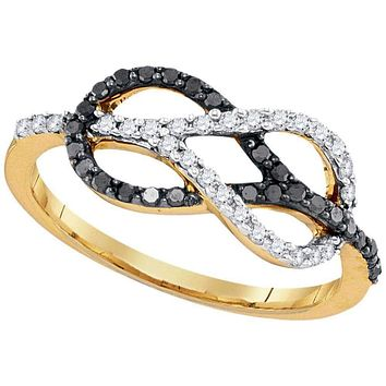 10kt Yellow Gold Women's Round Black Color Enhanced Diamond Infinity Lasso Loop Ring 1/3 Cttw - FREE Shipping (US/CAN)