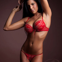 Red Bra with Gold Stitching Lightly Padded Beautiful Lingerie