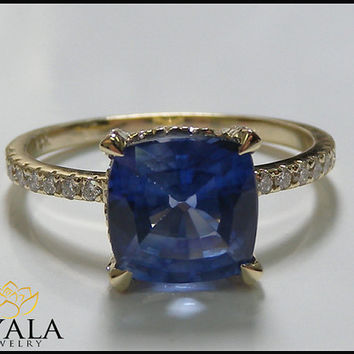 14K Yellow Gold Blue Sapphire  Ring , engagement ring,Cushion Blue Sapphire,Promise Rings,Engagment Rings,Solitaire Ring,Unique ring